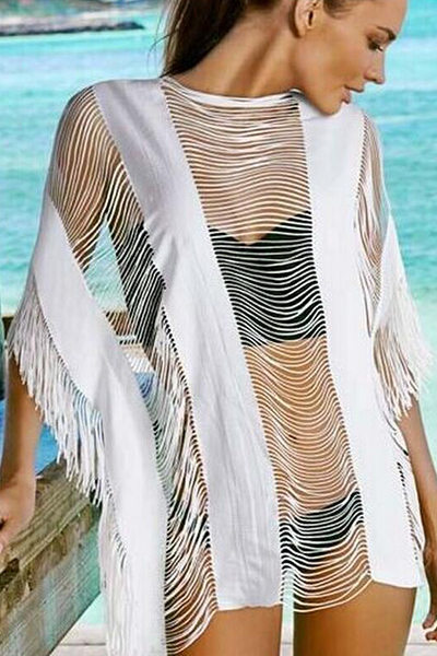 Trendy cuello redondo medio mangas hueco-out Tassel Design Funda de mezcla de algodón blanco-UPS