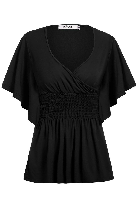 Trendy v neck short sleeves ruffle design black polyester for T shirt design v neck