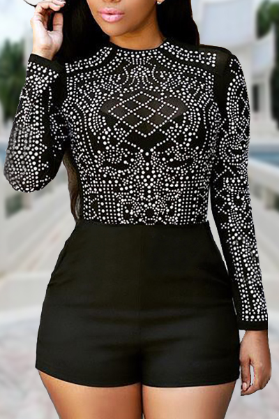 Trendy Round Neck Long Sleeves Rhinestone Decorative Black Polyester Skinny Jumpsuits