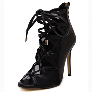 Trendy Open Toe Cruz Lace-arriba hondonada-out Stiletto Super Alto Talón Negro PU Bombas