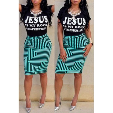 Euramerican Round Neck Short Sleeves Printed Qmilch Two-piece Skirt Set