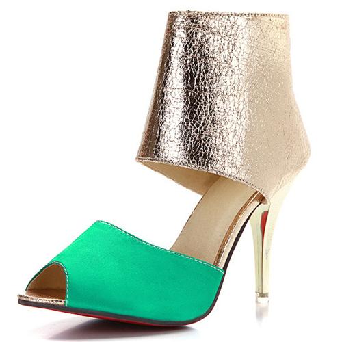 Модный раунд Peep Toe Color-шашка ямочный ремонт стилет Супер высокая каблучок зелёный PU насосы