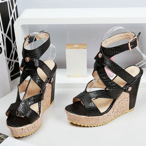 PU клин супер высокой моды лодыжки ремешок сандалии