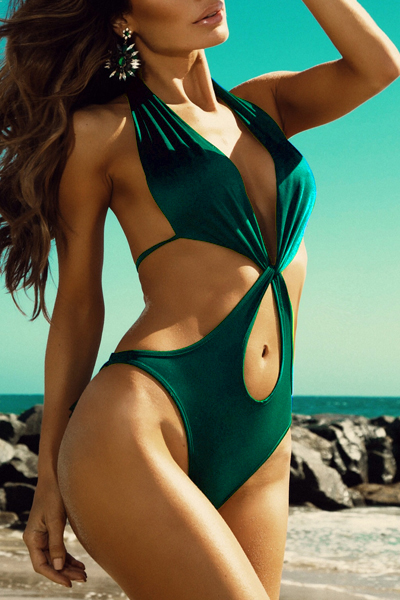 Sexy Halter V Neck Lace-up Hollow-out Green Nylon One-Piece Swimwear