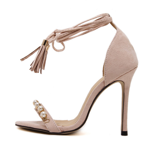 Stylish Open Toe Cross Lace-up Hollow-out Stiletto Super High Heel Apricot PU Ankle Strap Sandals