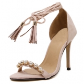 Stylish Open Toe Cross Lace-up Hollow-out Stiletto