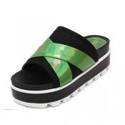Fashion Open Toe Platform High Heel Green Microfib