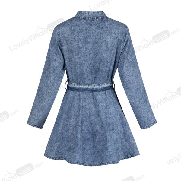 Women Sexy Long Sleeve Bodycon Club Denim Jean Mini Dress