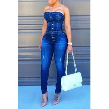 Trendy Strapless Single-breasted Design Azul Algodão Misturas de uma peça de macacão magro