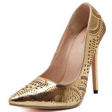Euramerican Pointed Toe Super High Heel Gold PU Pumps