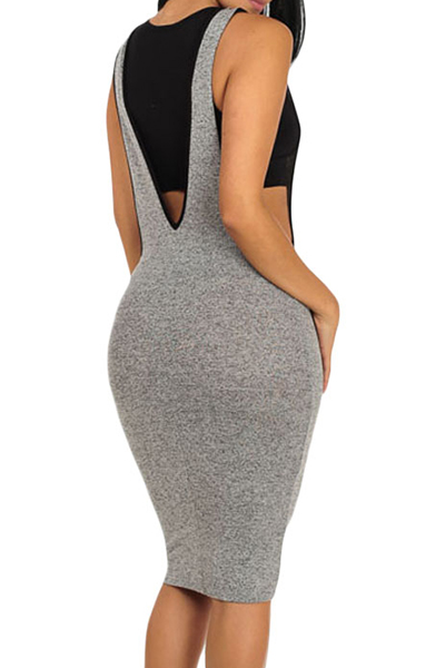 Leisure U-shaped  Neck Sleeveless V-shaped Backless Gray Polyester Sheath Knee Length Dress