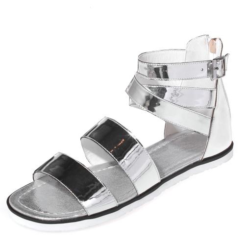 Stylish Open Toe Hollow-out Flat Low Heel Silver PU