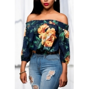 Euramerican Bateau Neck Three Quarter Sleeves Floral Print Dark Blue+Yellow Qmilch Shirts