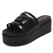Fashion Open Toe High Heel Black PU Slippers