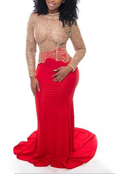 Sexy Rundhalsausschnitt mit langen Ärmeln Spitze Patchwork Hohle-heraus rote Spitze-Nixe Fußboden Länge Kleid