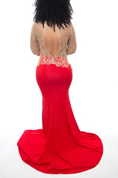 Sexy шею длинными рукавами Кружева Лоскутная полым из Красного кружева Русалка Длина пола платье