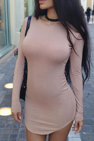 Contracted Style Round Neck Long Sleeves Incarnadine Cotton Blend Sheath Mini Dress