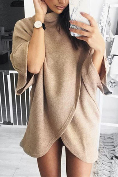 Stylish Turtleneck Half Sleeves Asymmetrical Brown Cotton Mini Dress