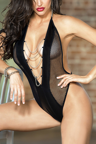 Sexy Deep V Neck Tassel Hollow-out Black Polyester Teddies