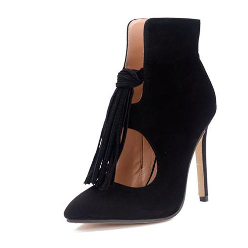 Stylish Pointed Closed Toe Tassel Design Stiletto Super High Heel Black PU Boots