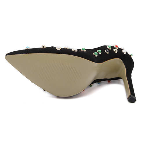 Stylish Pointed Closed Toe Rivet Decorative Super High Heel Black PU Basic Pumps