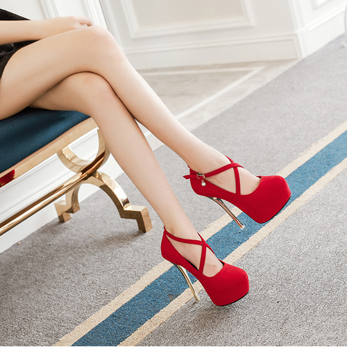 Fashion Round Closed Toe Hollow-out Stiletto Super High Heel Red PU Ankle Strap Pumps