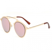 Euramerican Round-shaped Frame Design Pink PC Sunglasses