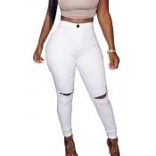 Fashion High Waist  Broken Holes Beige Cotton Pants