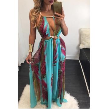 Sexy Round Neck Sleeveless Printed  Asymmetrical Blue Chiffon Ankle Length Dress