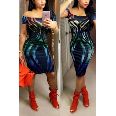 Sexy Bateau Neck Off The Shoulder Short Sleeves Print Spandex Knee Length Dress