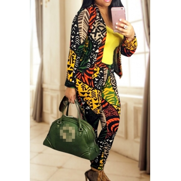 Multi Venetian Pants Print Turndown Collar Long Sleeve Casual Two Pieces