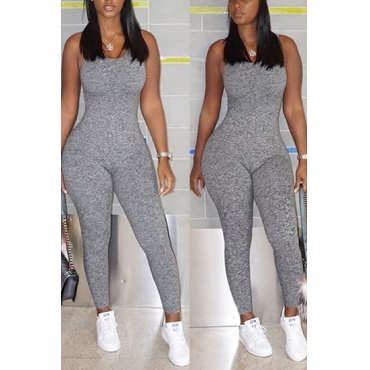 Sexy V Neck Sleeveless Backless Grey Polyester One-piece Skinny Jumpsuits