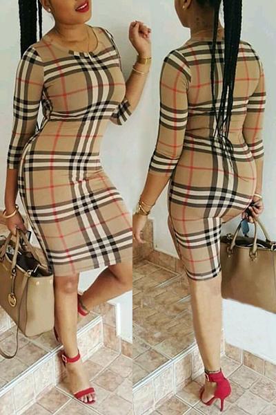 Stylish Round Neck Three Quarter Sleeves Plaids Polyester Sheath Knee Length Dress