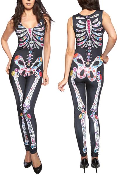 Stylish Round Neck Sleeveless Skeleton Printed Black Polyester Cosplay Costumes
