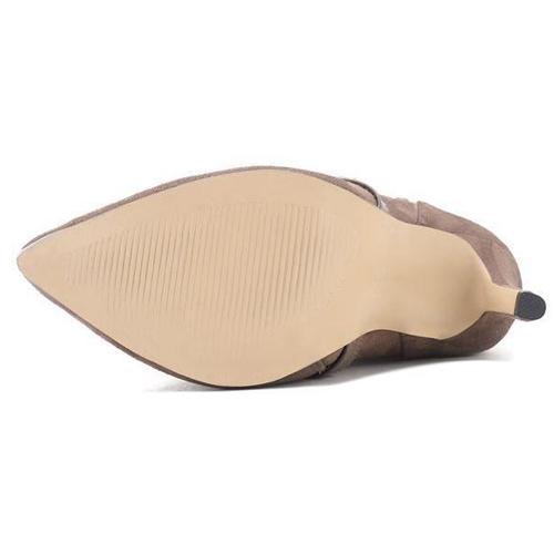 Trendy Pointed Toe Fur Design Stiletto Super High Heel Khaki Suede Mid Calf Boots