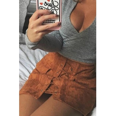 Trendy Mid Waist Lace-up Brown Polyester Mini Skirts