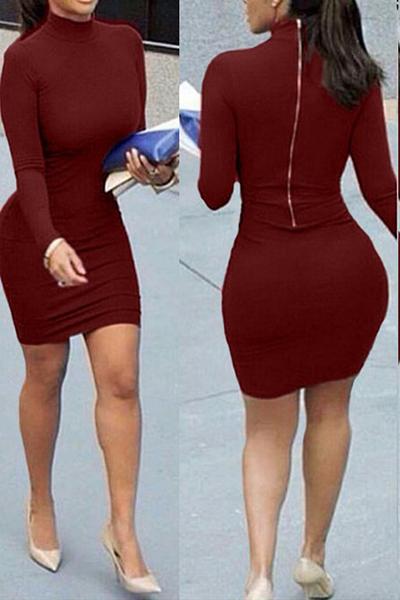 Contracted Style Mandarin Collar Long Sleeves Zipper Design Wine Red Cotton Blend Sheath Mini Dress
