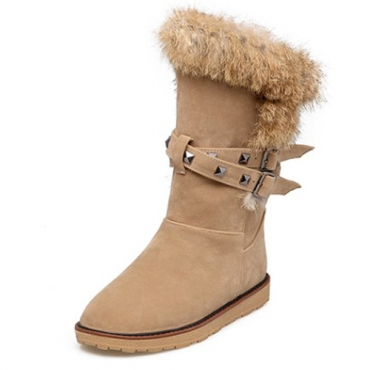 Fashionable Round Toe Fur Design Flat Low Heel Brown PU Short Snow Boots