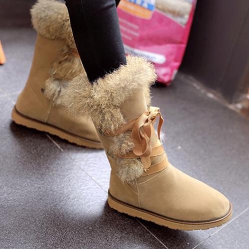 Зимний круглый носок с кружевной плоской низкой пяткой Абрикосовый пуховой сапог