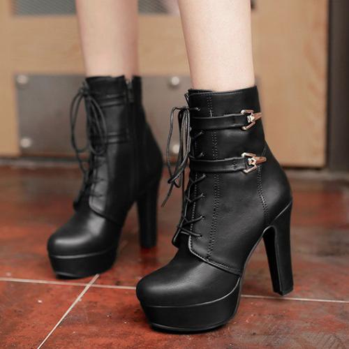 Elegante Round Toe Lace-up Chunky Super High Heel Black PU Botas curtas