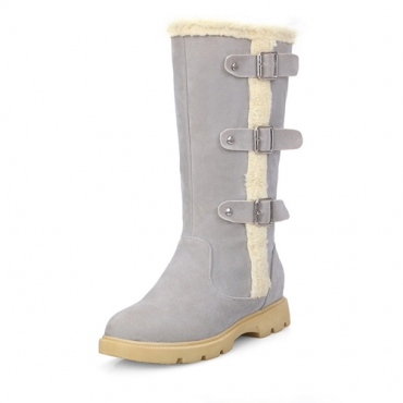 Stylish Round Toe Zipper Design Mediados de talón gris PU Mediados de Calf Snow Boots