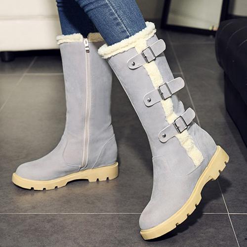 Elegante Round Toe Zipper Design Mid Heel Grey PU Meados Da Panturrilha Botas De Neve