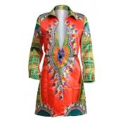 Fashion Turndown Collar Long Sleeves Print Red Bri