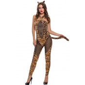 Sexy Halter Neck Tiger Printed Polyester Cosplay C