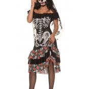 Fashion Boat Neck Skull Printed Black Polyester Co