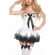 Wild Style Lace Stitching White Polyester Cosplay