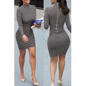 Contracted Style Mandarin Collar Long Sleeves Zipper Design Grey Cotton Blend Sheath Mini Dress