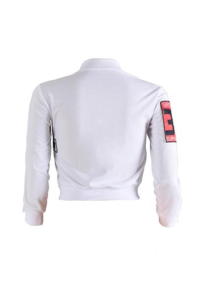 Elegante Collar De Mangas Largas Collage De Diseño Blanco De Algodón