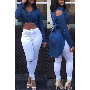 Sexy Turndown Collar Long Sleeves Asymmetrical Blue Denim Shirts