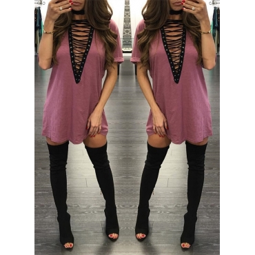 Qmilch Casual V Neck Short Sleeve Mini Dresses